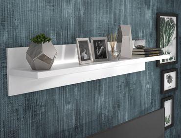 Wandboard Livorno 7 Hochglanz weiß 140x26x25 cm LED Wandregal Regal