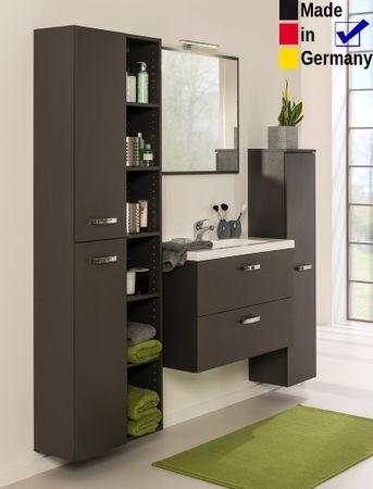 Badezimmer Quebec 33 graphit 5-teilig Waschtisch Wandspiegel LED