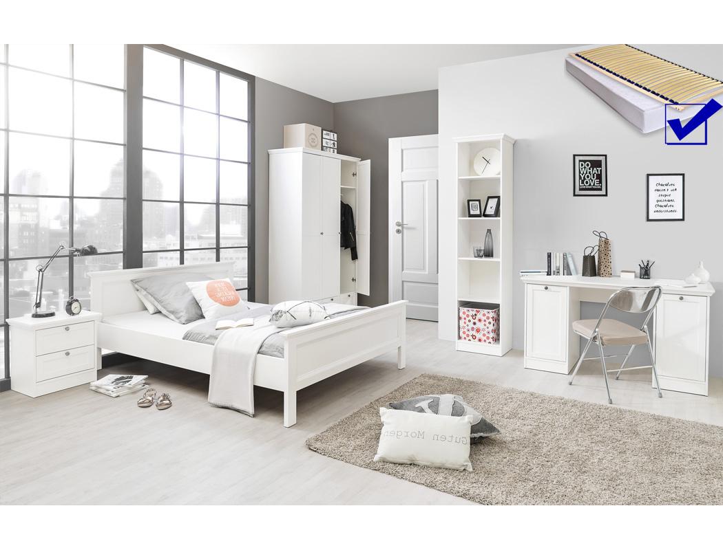 Jugendzimmer Landström 174 weiß 7-teilig Bett komplett 140x200 Schrank