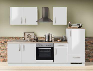 Küchenzeile Unico 270 cm Hochglanz weiß mit E-Geräten Küchenblock
