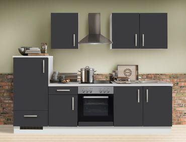 Küchenzeile Unico 270 cm Schiefer grau weiß mit E-Geräten Küchenblock