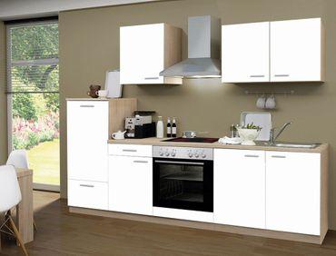 Küchenzeile Regio 270 cm weiß mit E-Geräten Küchenblock Einbauküche