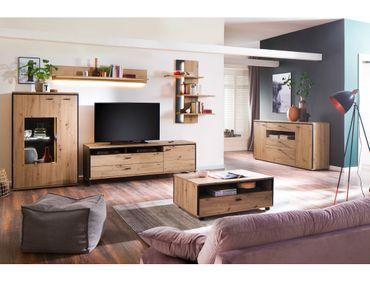 Wohnzimmer Mendoza 32 Balkeneiche 6-teilig Wohnwand Couchtisch LED