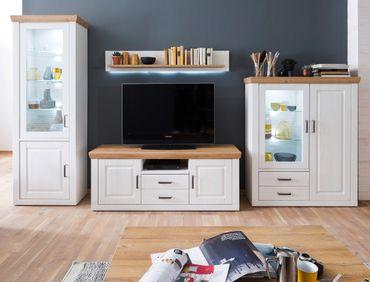 Wohnwand Bruneck 20 Pinie weiss Nb 4-teilig 369 cm Wohnzimmer TV-Wand