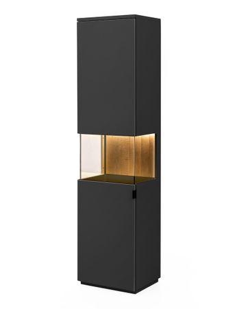 Vitrine Mutina 4 schwarzgrau 50x206x40 cm Glasvitrine Vitrinenschrank