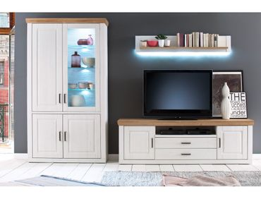 Wohnwand Bruneck 21 Pinie weiss Nb 3-teilig 326 cm Wohnzimmer TV-Wand