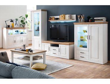 Wohnzimmer Bruneck 31 Pinie weiss Nb 6-teilig Wohnwand Couchtisch