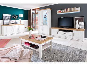 Wohnzimmer Bruneck 33 Pinie weiss Nb 5-teilig Wohnwand Sideboard Tisch