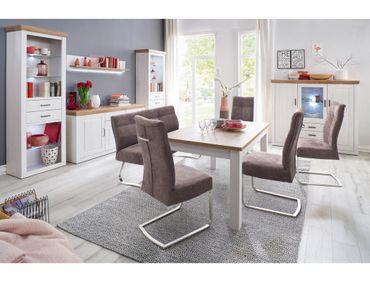 Esszimmer Bruneck 42 Pinie weiss Nb 6-teilig Wohnwand Highboard Tisch