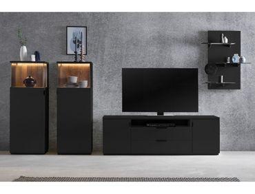 Wohnwand Mutina 20 schwarzgrau 300x190x45 4-teilig Medienwand TV-Wand