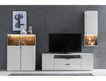 Wohnwand Mutina 21 weiß 280x190x45 cm 3-teilig Medienwand TV-Wand