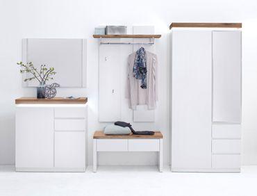 Garderoben Set Romana 6 matt weiß 285x198x38 cm LED Garderobe