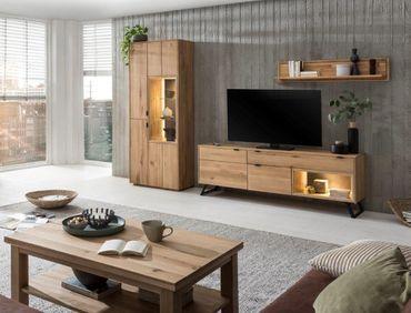 Wohnzimmer Porto 31 Eiche bianco massiv 4-teilig Wohnwand Couchtisch