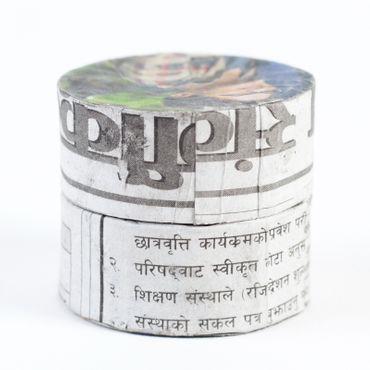 Döschen aus Zeitungspapier rund ca. 5 cm D. 4 cm hoch mit Deckel – Bild 3