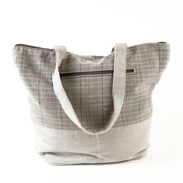 Shopper Karo hellgrau – Bild 2