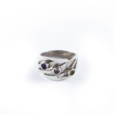 Ring drei Linien Steine Amethyst, Bergkristall, Peridot