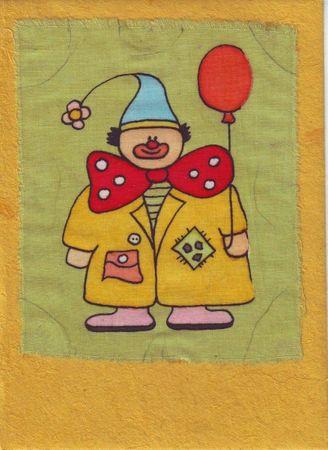 Grußkarte Clown auf gelb