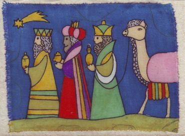 Grußkarte Drei Könige mit Kamel