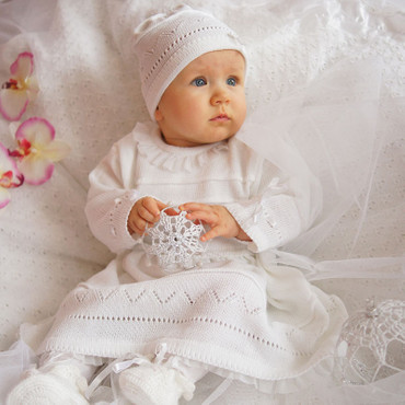 Babykleid Taufkleid Strickkleid Festkleid Mädchen Baby Taufe Kleid gestrickt – Bild 1