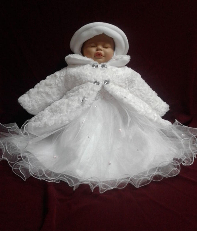 Set Mantel Wintermantel Kleid Mütze Hose Taufe Baby Taufmantel Taufkleid Winter