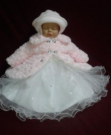 SET Mantel Wintermantel Kleid Mütze Hose Taufe Baby Taufmantel Taufkleid Winter – Bild 2