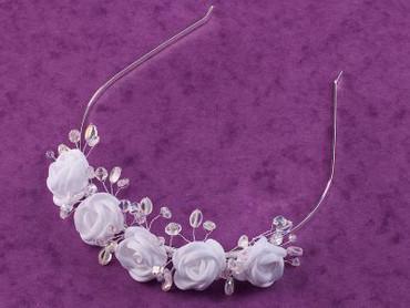 Haarreifen Haarschmuck z.Kommunion Kommunionkleid Blumenmädchen Blumenkleid weiß – Bild 3