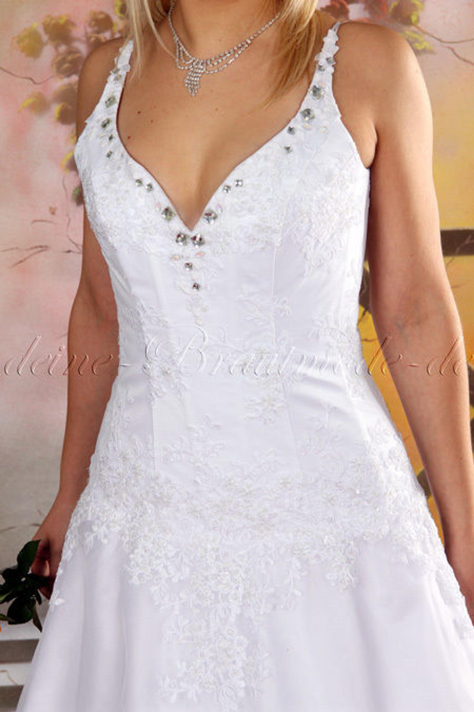 Hochzeitskleid Brautkleid Hochzeit Kleid Träger Strass Spitze