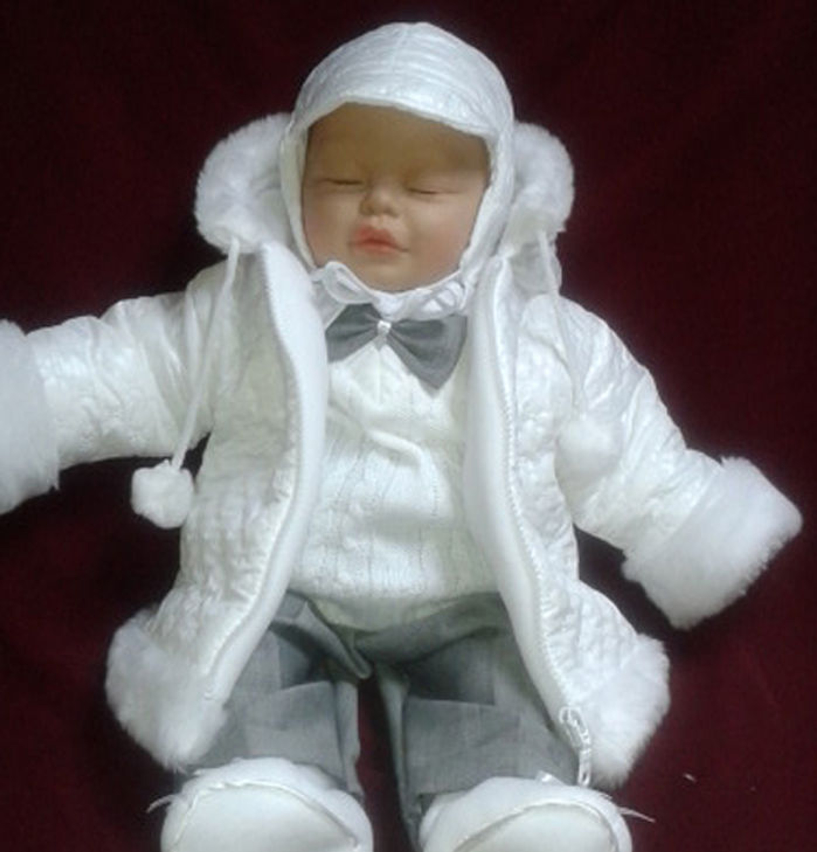 deine-Brautmode Taufanzug Festanzug Jacke Winterjacke Hose Hemd Taufe Baby Anzug Winter Set wei/ß Hellgrau