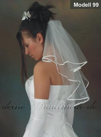 Brautschleier weiß ivory elfenbein creme cappuccino bordeaux Schleier Hochzeit – Bild 1