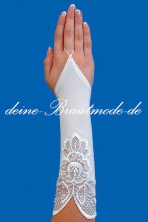 Brauthandschuhe weiß, ivory, elfenbein, champagner – Bild 8