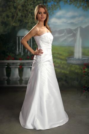 Brautkleid einteilig Spitze Perlen Taft Reifrock Unterrock neu weiss, ivory