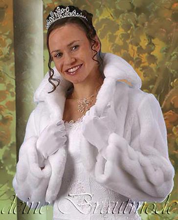 Brautjacke Brautbolero Bolero warme Jacke Pelz Fell Hochzeit Winter – Bild 2