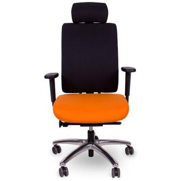 """Ergonomischer Bürostuhl """"Profim"""" Veris 11SFL in Schwarz/Orange mit verstellbaren Armlehnen und Kopfstütze"""