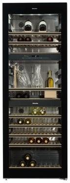 Miele Stand-Weintemperierschrank KWT 6834 SGS, 70 cm, 178 Flaschen, 3 Temperaturzonen, DynaCool, Active AirClean, FlexiFrame, SommelierSet, SoftClose, A