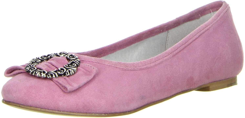 Vista Damen Trachtenschuhe Almhaferl Ballerinas rosa