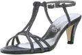 Vista Damen Glitzer Sandaletten schwarz/silber 001