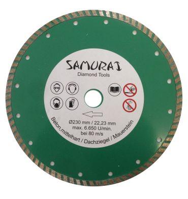 Samurai Profi Diamant Trennscheibe Ø 230 mm geschlossene Turbosegmenten. grün – Bild 1