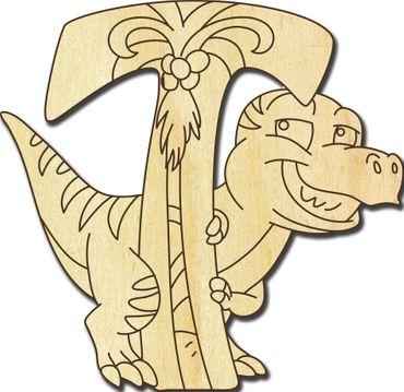 Holzbuchstabe DInosaurier T