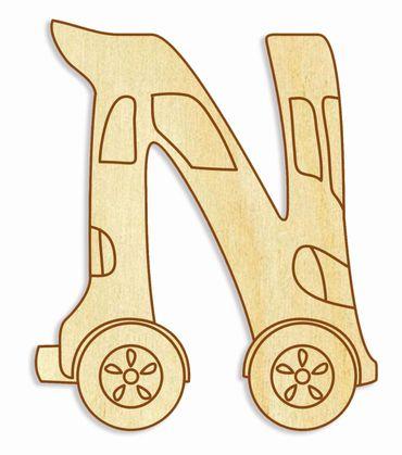 Holzbuchstabe Fahrzeuge N