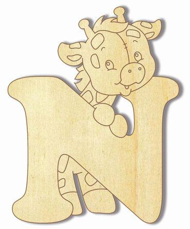 Holzbuchstabe Giraffe N