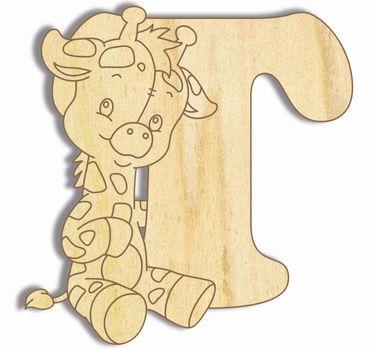 Holzbuchstabe Giraffe T