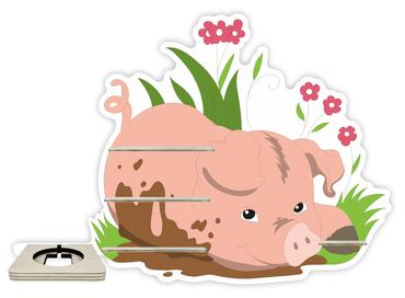 Regal für Musikbox - Schweinchen im Gras – Bild 1