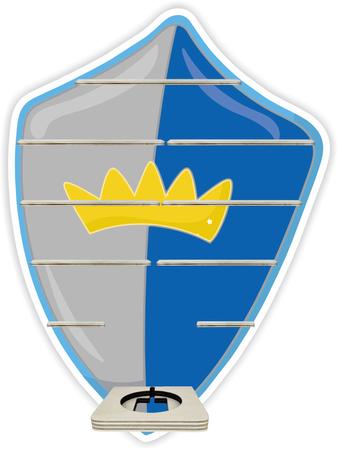 Regal für Musikbox - Ritterschild blau