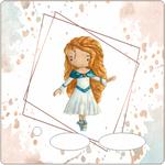 Folie für Musikbox - Aquarell Ballerina blau 001