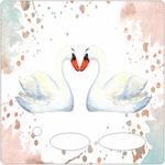 Folie für Musikbox - Aquarell Schwan 001