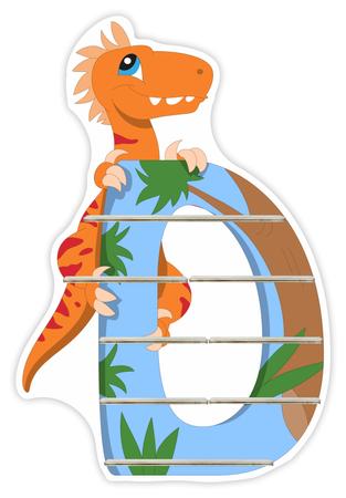 Regal für Musikbox - Alphabet Dinosaurier - D