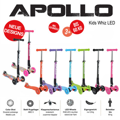 Apollo 3-Rad Kinderroller - Kids Whiz - Pink  – Bild 5