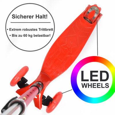 Apollo 3-Rad Kinderroller - Kids Whiz - Red  – Bild 3
