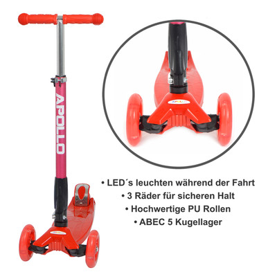 Apollo 3-Rad Kinderroller - Kids Whiz - Red  – Bild 4