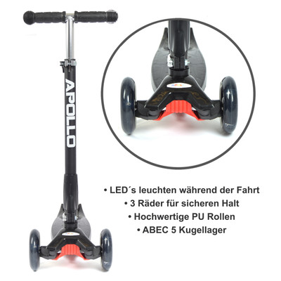 Apollo 3-Rad Kinderroller - Kids Whiz - Black  – Bild 4